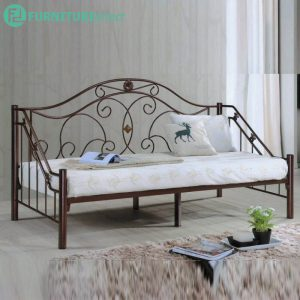 DB999 single size metal day bed- Brozne