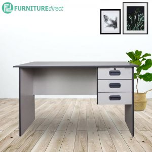 [CLEARANCE] AMBER 4 feet office desk study desk with 3 drawer- Grey