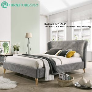FIOLA Scandinavian 6' king size bedframe in honeycomb fabric-Grey