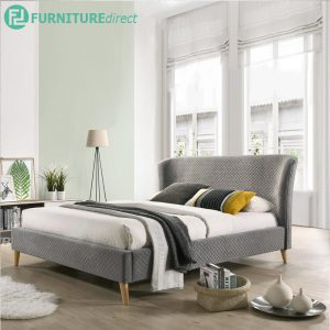 FIOLA Scandinavian 5' queen size bedframe in honeycomb fabric-Grey