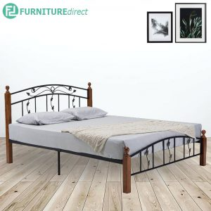 IVAN Queen size metal bed frame with wooden post