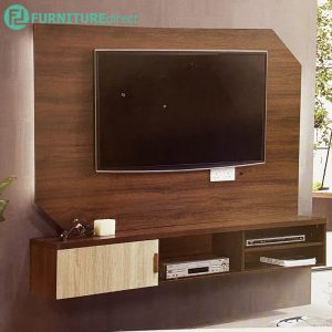 LH3078 6 feet hanging TV wall cabinet-Walnut+oak