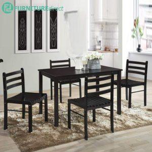 LIYA 4 seater solid wood dining table set starter set-wenge