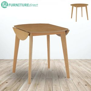 OVEN round drop left extension dining table- Oak