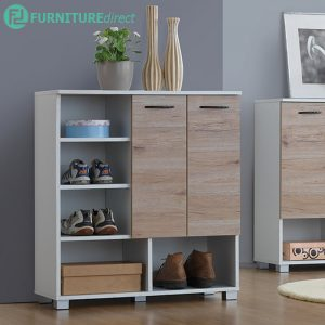 CF1301 Scandinavian 2 door shoe cabinet-oak/white