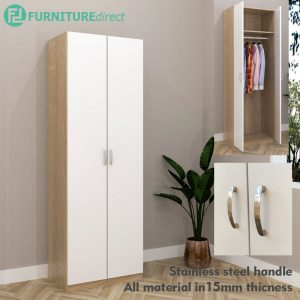 ESCOT 2 Door wardrobe-White+Oak