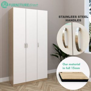 ESCOT 3 Door wardrobe-White+Oak