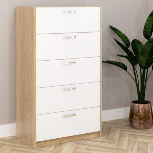 ESCOT 5 Drawer Chest- White+Oak