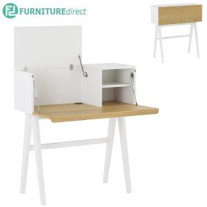 Valen 96cm working desk in White Lacquered body