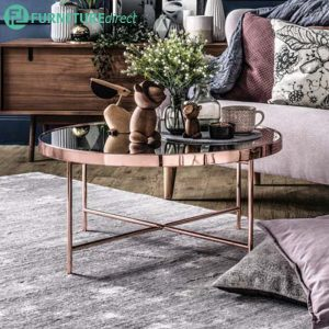 Xander Oval Coffee Table in Copper colour frame with mirror top