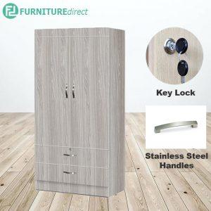 2601 wider size 2 door 2 drawer wardrobe with key lock
