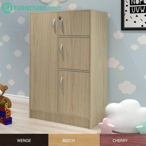 BARRY 4 Door children wardrobe with key lock-Beech