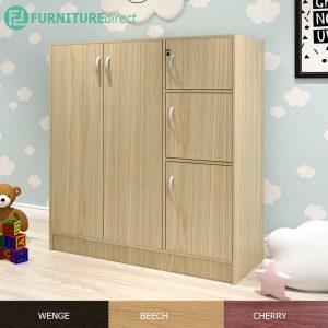 BARRY 5 doors children wardrobe with key lock- Beech