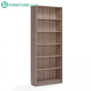 [CLEARANCE] DANNY Jumbo size 6 tier tall bookcase-Canyon Oak
