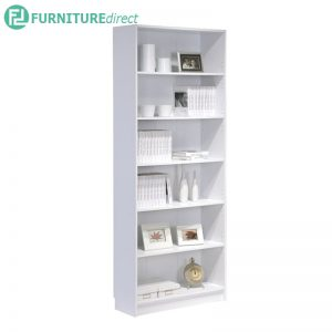 DANNY Jumbo size 6 tier tall bookcase-White