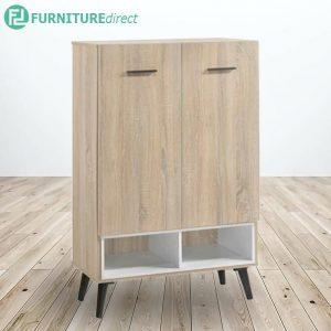 VIOLA 2 Door shoe cabinet in solid wood legs