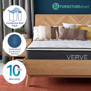 "Furniture Direct VERVE 10"" pocketed spring pillow top mattress in roll packed packaging"