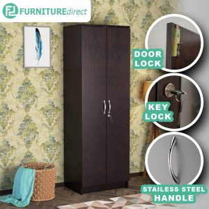 [CLEARANCE] ROSHAN 2 Door wardrobe with key lock and 3 adjustable shelves