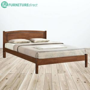 THOMAS DB2117 solid wood queen size bed frame-Walnut