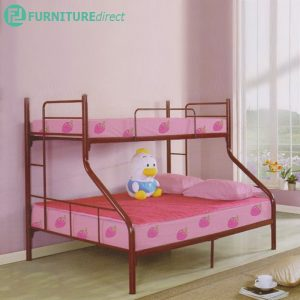 PF8203 trio single over queen heavy duty metal bunk bed- Maroon