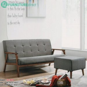 [CLEARANCE] SF9819 BERLINDA 3 seater solid wood sofa with stool