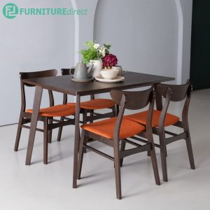AUDREY 4 seater solid wood dining set-orange