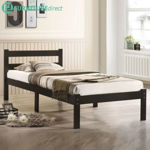 MINA solid wood single size bed frame- Cappuccino