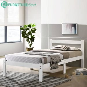 MINA solid wood single size bed frame- White