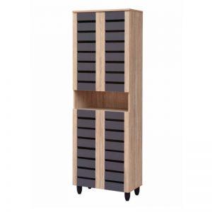 Tori 4 Doors Shoe Cabinet - Natural White + Grey