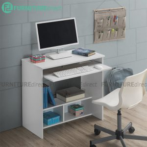 [CLEARANCE] AMOS 80cm computer desk with keyboard tray-White