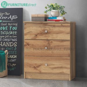 [CLEARANCE] AWANA 3 Drawers chest- wotan oak