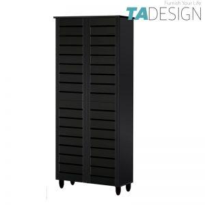 TAD BELLA SC865515 4 Door high wooden shoe rack cabinet-Black