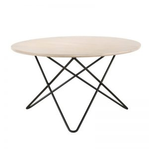 Trigo Solid Wood Coffee Table with Metal Leg-Natural White