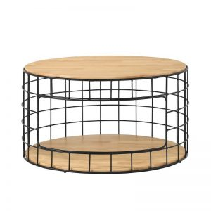 Mica Coffee Table with Metal Leg -Natural