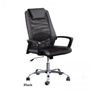 HIGH BACK MESH&PVC OFFICE CHAIR -BLACK
