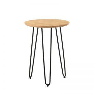 Naraka Side Table with Metal Leg - Natural