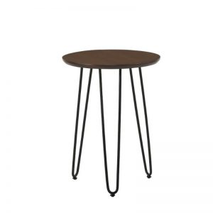 Naraka Side Table with Metal Leg - Walnut