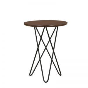 Trigo Solid Wood Side Table with Metal Leg-Walnut