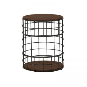 Mica Side Table with Metal Leg - Walnut