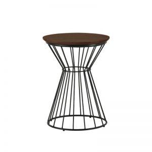 Kemy Side Table with Metal Leg - Walnut