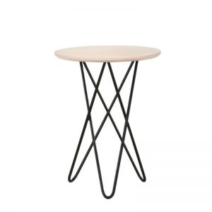 Trigo Solid Wood Side Table with Metal Leg- Natural White