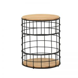 Mica Side Table with Metal Leg - Natural