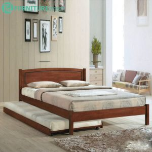 THOMAS solid wood queen size bed frame with pull out bed