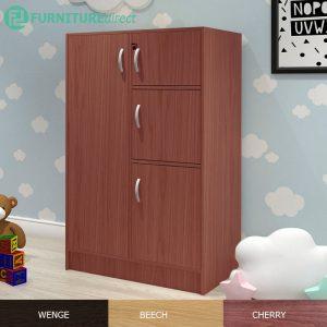 BARRY 4 Door children wardrobe with key lock-Cherry