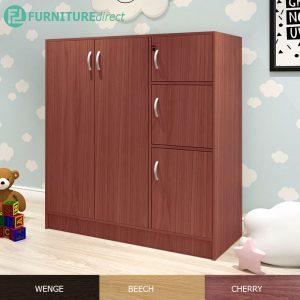 BARRY 5 doors children wardrobe with key lock- Cherry