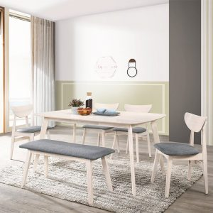 HINO solid rubberwood 6 seater dining set with bench