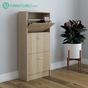 PHILIP space saver 3 doors shoe cabinet-Oak