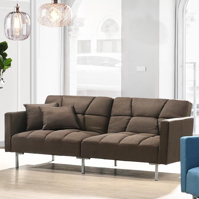 Combi Super Wide 3 Seater Sofa Bed, Brown Material Sofa Bed