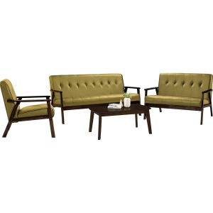 TRITON solid wood sofa set with coffee table -yellow
