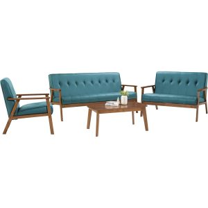 TRITON solid wood sofa set with coffee table -Sky Blue